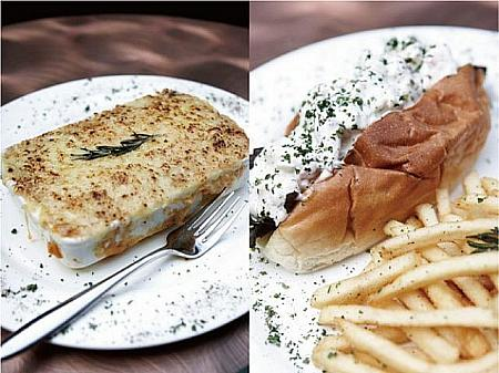 (左)Super Stuffed Shepherd's Pie(260バーツ++) (右)Minibar Tiger Prawn Roll(320バーツ++)