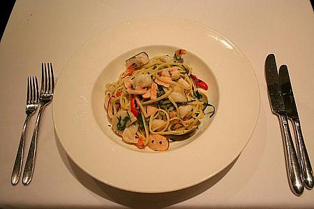 Linguine with seafood garlic chili and fresh herbs HK$178