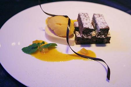 Passion Fruit Parfait with Brownie & Mango Sorbet